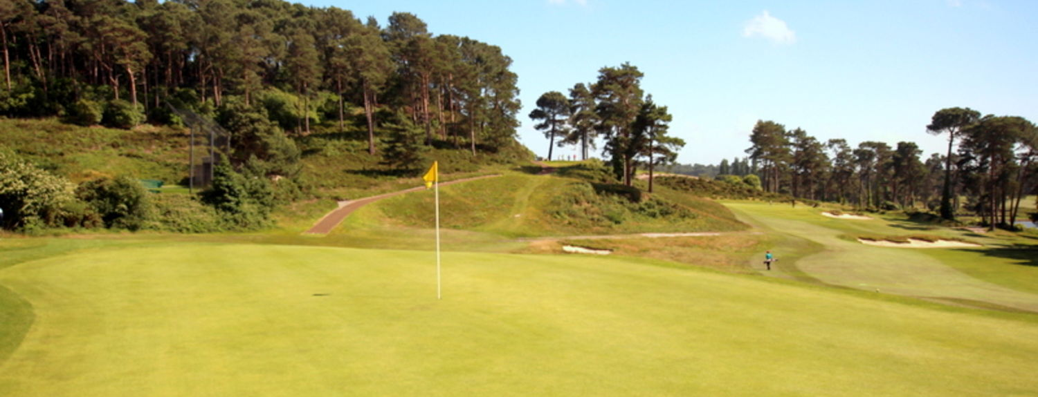 A view of the tough finishing par 3 18th hole from behind the green